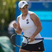 Ash Barty celebrates her progression through to the quarterfinals of the Aegon Open in Nottingham; Getty Images