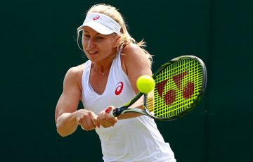 Daria Gavrilova in action during her first-round victory over Wang Qiang at Wimbledon; Getty Images
