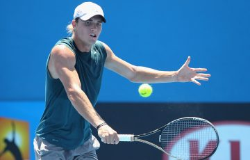 MELBOURNE, AUSTRALIA - DECEMBER 15:  Christopher O'Connell of Australia plays a backhand in his first round match against Luke Saville of Australia during the 2015 Australian Open play off at Melbourne Park on December 15, 2014 in Melbourne, Australia.  (Photo by Robert Prezioso/Getty Images)