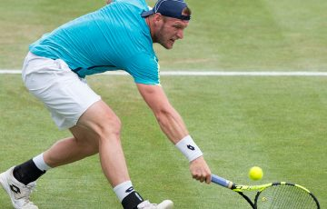 Sam Groth in action during the European grasscourt season in the lead-up to Wimbledon; Getty Images