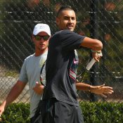 Lleyton Hewitt oversees a Nick Kyrgios practice session; Getty Images