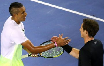 Nick Kyrgios (L) and Andy Murray shake hands after Murray won their Australian Open 2015 quarterfinal; Getty Images