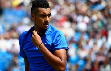 Nick Kyrgios in action against Milos Raonic in the first round of the Aegon Championships at London's Queen's Club; Getty Images