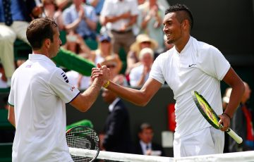 Nick Kyrgios (R) shakes hands with Radek Stepanek after winning their first-round match at Wimbledon; Getty Images