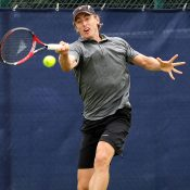 John Millman in action during his second-round loss to Steve Johnson at the ATP Aegon Open in Nottingham; Getty Images