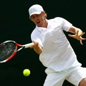 John Millman in action during his first-round victory over Albert Montanes at Wimbledon; Getty Images