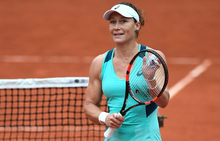 Sam Stosur celebrates her quarterfinal victory over Tsvetana Pironkova at Roland Garros; Getty Images