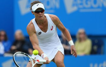 Sam Stosur in action during her opening-round loss at Eastbourne to Caroline Wozniacki; Getty Images