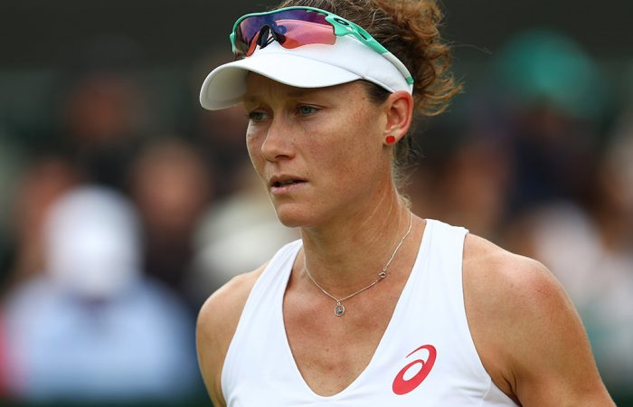Sam Stosur looks dejected in a second-round loss to Sabine Lisicki at Wimbledon; Getty Images