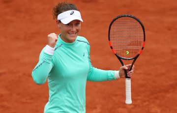 Sam Stosur celebrates her fourth-round victory over Simona Halep at Roland Garros; Getty Images