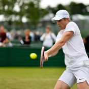 Luke Saville in action during Wimbledon qualifying; Getty Images