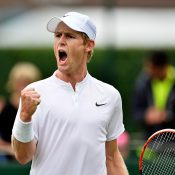 Luke Saville in action at Wimbledon qualifying at Roehampton; Getty Images