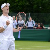 Luke Saville celebrates his victory over Aldin Setkic in the second round of Wimbledon qualifying; photo credit Christopher Levy