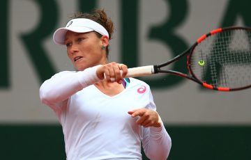 Sam Stosur in action against Simona Halep during her fourth-round win at Roland Garros; Getty Images