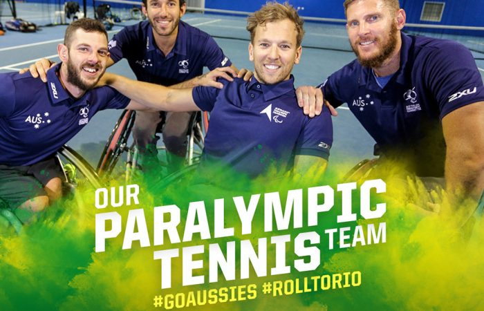 Australia's Rio 2016 Paralympic wheelchair tennis team of (L-R) Heath Davidson, Adam Kellerman, Dylan Alcott and Ben Weekes.