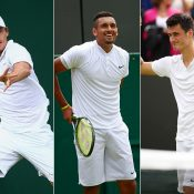 (L-R) Australians John Millman, Nick Kyrgios and Bernard Tomic all feature on the Day 6 order of play at Wimbledon; Getty Images