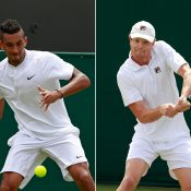 Nick Kyrgios (L) and Matt Barton will fly the Aussie flag on Day 5 at Wimbledon; Getty Images