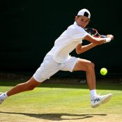Alex De Minaur in action at the 2016 Wimbledon Championships; Getty Images