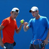 Alex De Minaur (L) and Blake Ellis in action in doubles at Australian Open 2016; Getty Images
