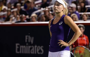 Daria Gavrilova reacts during her second-round loss to Simona Halep at the WTA Coupe Rogers in Montreal; Getty Images