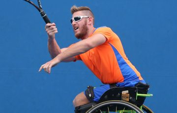 MELBOURNE, AUSTRALIA - JANUARY 26:  Ben Weekes of Australia plays a forehand in his match against Adam Kellerman of Australia during the Australian Open 2015 Wheelchair Championships at Melbourne Park on January 26, 2015 in Melbourne, Australia.  (Photo by Michael Dodge/Getty Images)