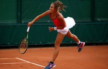 PARIS, FRANCE - MAY 31:  Seone Mendez of Australia serves during her girls' singles match against Caroline Dolehide of the United States on day eight of the 2015 French Open at Roland Garros on May 31, 2015 in Paris, France.  (Photo by Dan Istitene/Getty Images)
