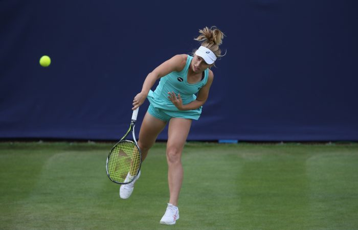 BIRMINGHAM, ENGLAND - JUNE 14: Daria Gavrilova of Australia serves during her women's singles first round match against Naomi Broady of Great Britain on day two of the WTA Aegon Classic at Edgbaston Priory Club on June 14, 2016 in Birmingham, England.  (Photo by Steve Bardens/Getty Images for LTA)