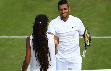 Nick Kyrgios congratulates Dustin Brown at net after winning their second-round encounter at Wimbledon in five thrilling sets; Getty Images