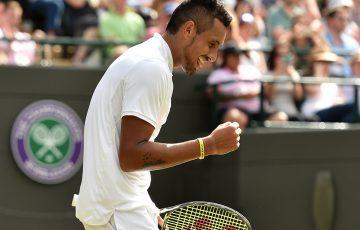 Nick Kyrgios celebrates his third-round win over No.22 seed Feliciano Lopez at Wimbledon; Getty Images