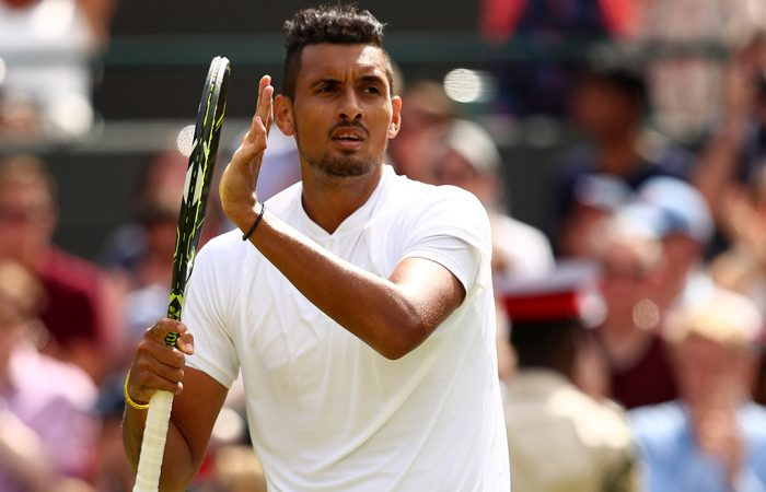 Nick Kyrgios celebrates his third-round win over Feliciano Lopez on No.1 Court at Wimbledon; Getty Images