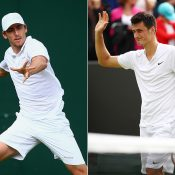 John Millman (L) and Bernard Tomic in action at Wimbledon; Getty Images
