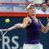 Sam Stosur fires a forehand during her first-round victory over Heather Watson at the Coupe Rogers in Montreal; Getty Images