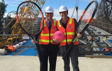 Todd Woodbridge (R) and Victorian Sports Minister John Eren; Getty Images
