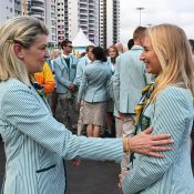 Daria Gavrilova (R) meets Australian Olympic team chef de mission Kitty Chiller; AAP Image