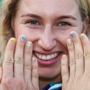 Daria Gavrilova poses with her Aussie-themed painted nails at