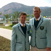 Aussie men's doubles pairing John Peers (L) and Chris Guccione in Rio; photo courtesy @johnwpeers