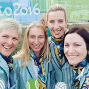 Daria Gavrilova (second left) with other Australian Olympic athletes; courtesy @Daria_gav
