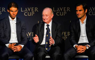 (L-R) Rafael Nadal, Rod Laver and Roger Federer in New York at the launch of the Laver Cup