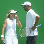 Andrew Florent (R) in mixed doubles action with Nicole Pratt at Australian Open 2003; Getty Images