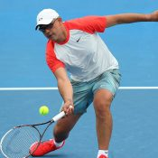 Andrew Florent in action during the Australian Open 2014 legends event; Getty Images