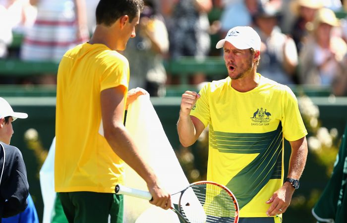 MELBOURNE, AUSTRALIA - MARCH 04:  Lleyton Hewitt captain of Australia gestures to Bernard Tomic of Australia as he plays against Jack Sock of the United States during the Davis Cup tie between Australia and the United States at Kooyong on March 4, 2016 in Melbourne, Australia.  (Photo by Robert Prezioso/Getty Images)