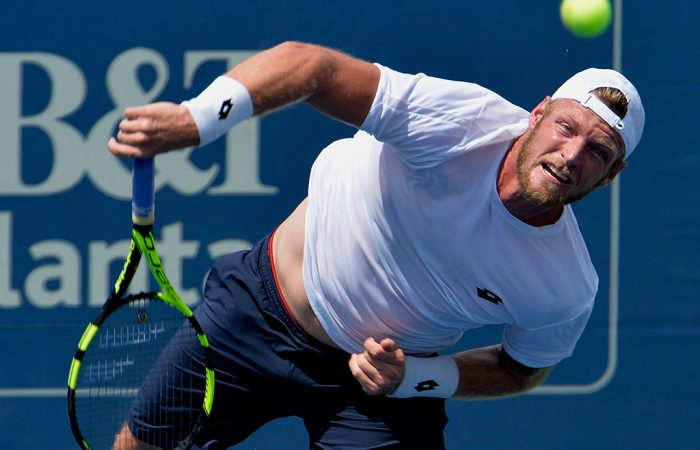 Sam Groth serves during his loss to Jared Donaldson at the ATP event in Atlanta; Getty Images