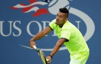 Nick Kyrgios serves to Aljaz Bedene during his first-round win over the Brit at the US Open; Getty Images