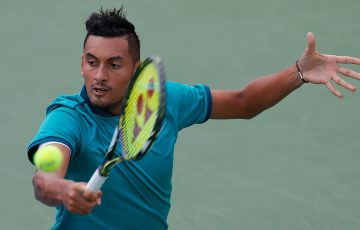 Nick Kyrgios in action during his quarterfinal victory over Fernando Verdasco at the ATP Atlanta Open; Getty Images
