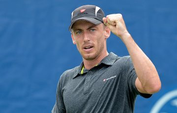 John Millman celebrates a point during his third-round victory over Bjorn Fratangelo at the ATP Winston-Salem Open; Getty Images