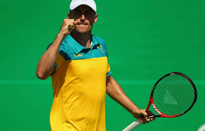 John Millman in action during his first-round win over Ricardas Berankis in the men's singles event at the Rio Olympics; Getty Images