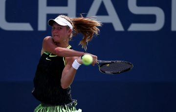 Ellen Perez plays a backhand in her first-round loss to Zhang Shuai at the US Open; Getty Images