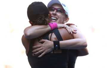 Anastasia Rodionova hugs sister Arina at Australian Open 2016; Getty Images
