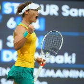 Sam Stosur celebrates a winning point during her second-round victory over Misaki Doi at the Rio 2016 Games; Getty Images