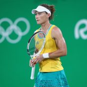 Sam Stosur looks on during her third-round loss to Angelique Kerber in the women's singles event at the Rio 2016 Games; Getty Images